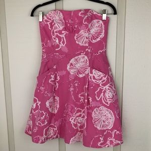 Lilly Pulitzer pink White Floral Strapless Dress